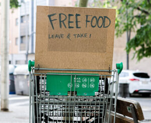 Cart with free food for people